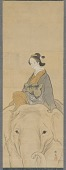 view Mitate-e of Courtesan Eguchi, parodying Fugen Bosatsu, seated astride an elephant digital asset number 1