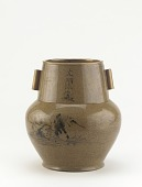 view Karatsu ware vase with landscape and false Ming period mark digital asset number 1