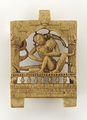 view Furniture plaque: lovers embracing on a canopied bed digital asset number 1