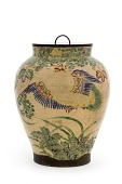view Kyoto ware jar with design of phoenixes and paulownia crests digital asset number 1