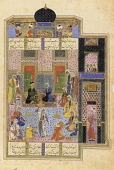 view Folio from a <i>Khamsa</i> (Quintet) by Nizami; recto: illuminated panels of text; verso: Bahram Gur and the princess in the black pavilion digital asset number 1