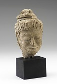 view Head of a bodhisattva or attendant figure, possibly a female musician digital asset number 1
