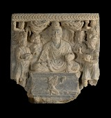 view Seated Buddha with attendant figures and worshipper digital asset number 1