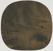 view Water Buffalo and Herdboy under Willows digital asset number 1