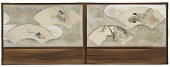 "view Four fan paintings mounted on a screen; ""Frog on Lotus Leaf"", ""Scholar in a House"", ""Landscape"", and ""Boat and Rock"" digital asset number 1"
