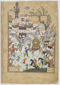 view Folio from a <em>Haft awrang</em> (Seven thrones) by Jami (d.1492); verso: the Aziz and Zulaykha enter the capital of Egypt and the Egyptians come out to greet them; recto: text digital asset number 1