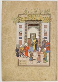 view Folio from a <i>Haft Awrang</i> (Seven thrones) by Jami (d.1492); recto: the infant witness testifies to Yusuf's innocence; verso: text digital asset number 1