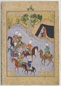 view Folio from the Haftawrang (Seven Thrones) by Jami (d. 1492): The Arab Berates His Guests (f. 1696) digital asset number 1