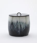 view Tea ceremony water jar, Chosen Karatsu type, with black lacquer lid digital asset number 1