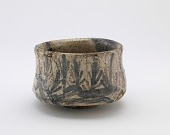 view Mino ware tea bowl with design of gate and seedling pines digital asset number 1