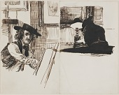 view Whistler drawing Poynter; back view of a man seated at a table near a lighted lamp digital asset number 1