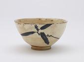 view Koto ware tea bowl with design of yuzuriha digital asset number 1