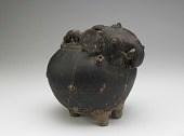view Pouring vessel in the form of a caparisoned elephant, with a spout on the shoulder digital asset number 1
