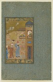 view Folio from an unidentified text; verso: Two men carrying pitchers approach a building digital asset number 1