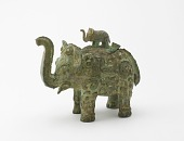 view Lidded ritual ewer (<em>huo</em>) in the form of an elephant with masks and dragons digital asset number 1