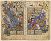view Folio from a <em>Shahnama</em> (Book of kings) by Firdawsi (d.1020); recto: Rustam kicks back the rock rolled on him by Bahman; verso: text digital asset number 1