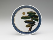 view Dish with design of pine tree and moon (from a set of five) digital asset number 1