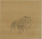 view Young man reading while leading a buffalo and calf digital asset number 1