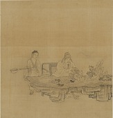 view A Man seated at a rock table; attendant standing near digital asset number 1