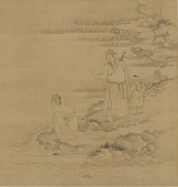 view A Man and a boy; a woman kneeling by the edge of a stream digital asset number 1
