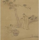 view A Man and a boy standing under a tree; a runner with a cart digital asset number 1