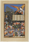 view Folio from a <i>Shahnama</i> (Book of kings) by Firdawsi (d.1020); recto: Iskandar encounters the Angel Israfel; verso: text: Iskandar crosses the Land of Darkness, removes the ruby; Iskandar constructs a wall to defeat Yajuj and Majuj (Gog and Magog) digital asset number 1