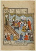 view Folio from an unidentified text; verso: Prophet Muhammad preaches after the Battle of the Ditch; recto: text digital asset number 1