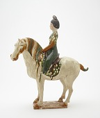 view Tomb figure of a woman on horseback digital asset number 1