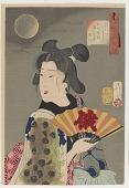 view Looking suitable: the appearance of a geisha of the licensed quarters in the Koka era (1844-1848), from the series Thirty-two Aspects of Customs and Manners digital asset number 1