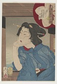 view Looking cool: the appearance of a geisha in the fifth or sixth year of Meiji (1872 or 1873), from the series Thirty-two Aspects of Customs and Manners digital asset number 1