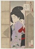 view Looking inquisitive: the appearance of a maid of the Temp era (1830-1844), from the series Thirty-two Aspects of Customs and Manners digital asset number 1