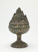 view Lidded incense burner (<em>xianglu</em>) with geometric decoration and narrative scenes digital asset number 1