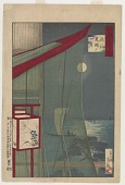 view Mosquito net and full moon at Shinagawa, from the series One Hundred Views of Musashi digital asset number 1