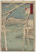 view Fukagawa's Benten shrine in snow, from the series One Hundred Views of Musashi digital asset number 1
