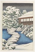 view Snow at a guest house on pond's edge, from the series The Mitsubishi villa at Fukagawa digital asset number 1
