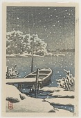 view Moored boat in snow digital asset number 1