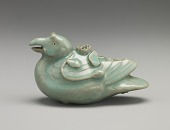 view Water dropper in the shape of a mandarin duck (imitation of Goryeo celadon) digital asset number 1