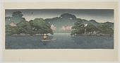 view Small boat in a spring shower, from the series The Mitsubishi villa at Fukagawa digital asset number 1