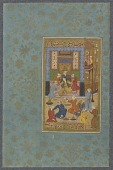 view Folio from a <em>Yusuf and Zulaykha</em> by Jami (d. 1492); Zulaykha bound by the golden chain digital asset number 1