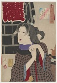 view Looking expectant: the appearance of a fireman's wife of the Kaei era (1848-1854), from the series Thirty-two Aspects of Customs and Manners digital asset number 1