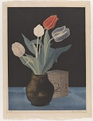 view Tulips in a vase and its wooden storage box digital asset number 1