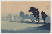 view Sail boat and lakeside dwellings digital asset number 1
