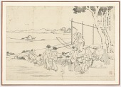 view Preparatory drawing for Fujiwara no Kiyosuke from the series One Hundred Poems Explained by the Nurse (Hyakunin isshu uba ga etoki) digital asset number 1
