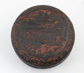 view Carved lacquer food box with scene of the Moon Palace digital asset number 1