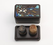 view Two seals belonging to the Qianlong Emperor, with fitted stands and decorated box digital asset number 1
