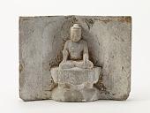 view Seated Buddha (<i>Shakyamuni</i>) with two disciples digital asset number 1