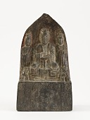 view Seated Daoist deity with attendants, lions, donors, and censer digital asset number 1