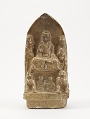 view Seated Buddha with bodhisattvas, lions, and figures digital asset number 1