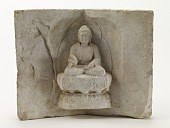 view Seated Buddha with a standing monk digital asset number 1