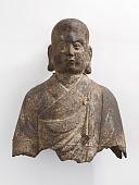 view Head and bust of a Luohan (<em>Arhat</em>), fragment digital asset number 1